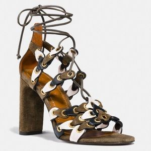 COACH leather gladiator lace up strap heels